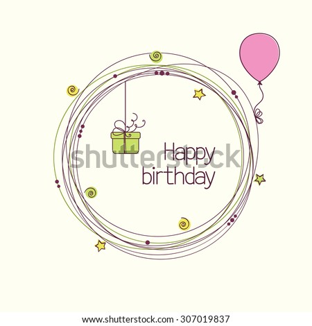 Festive round frame with gift box and balloon for birthday or other holiday greeting card - stock vector