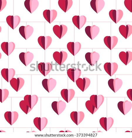Festive seamless pattern with hanging hearts cut from paper.  Endless texture for your design, greeting cards, announcements, posters. - stock vector