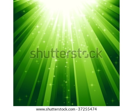 Festive square abstract background with stars descending on rays of green light. 7 global colors, background controlled by 1 linear gradient. - stock vector