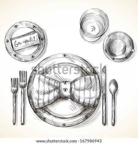 Festive table setting - stock vector