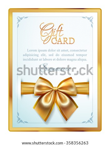 Festive template of gift card with gold ribbon, bow and place for text in a golden frame - stock vector