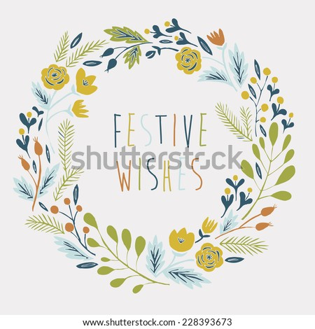 Festive Wishes Card - stock vector