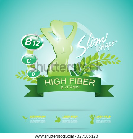 Fiber in Foods Slim Shape and Vitamin Concept Label Vector - stock vector