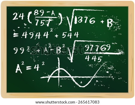 fictional mathematics hand drawn on chalkboard, vector illustration - stock vector