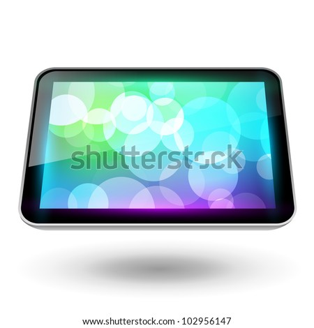 Fictitious touch tablet 6, with background - stock vector