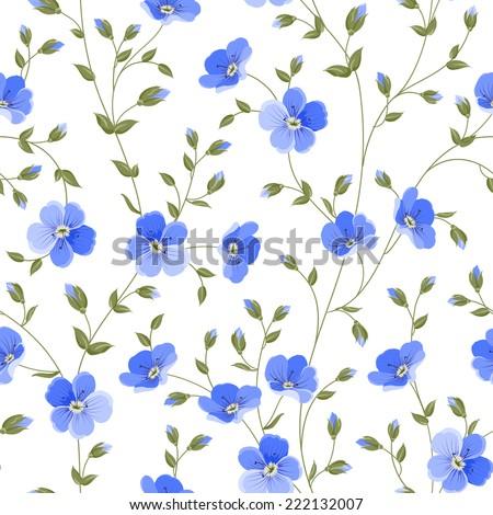 Field flowers wallpaper over white background. Vector illustration. - stock vector