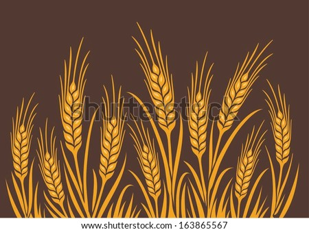Field of Wheat, Barley or Rye vector visual illustration, golden yellow on natural brown background, ideal for bread packaging, beer labels etc. - stock vector