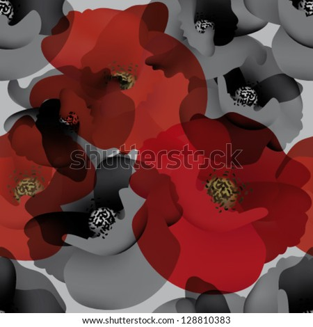 Field poppy / Seamless white-and-black wallpaper with red accent - stock vector