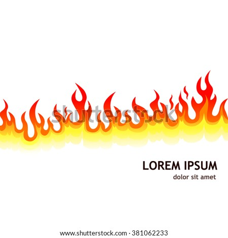 fiery background. Fire line. Vector - stock vector