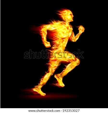 Fiery running man with motion effect on black background - stock vector