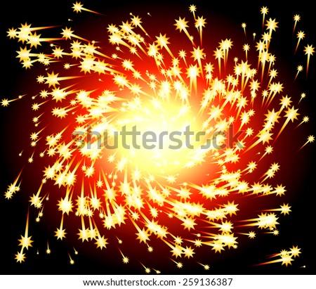 Fiery Spark Twirl - stock vector