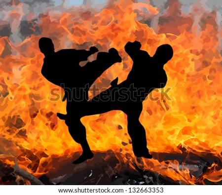 fight the fire - stock vector