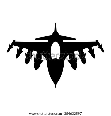 Fighter Jet Vector Icon - stock vector