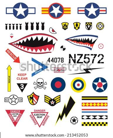 Fighter planes emblem set - stock vector