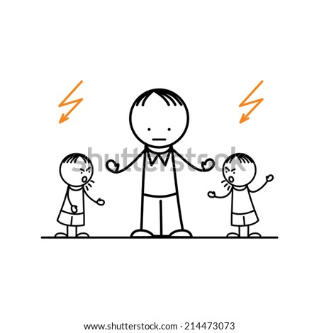 Fighting children stopped by father - stock vector