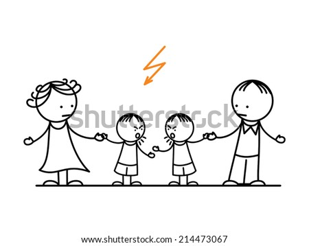 Fighting children stopped by parent - stock vector