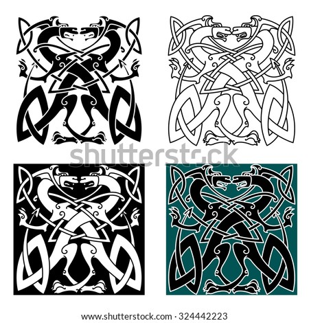 Fighting dragons in celtic style with wings and tails knotted into vintage ornamental pattern for tattoo or coat of arms design - stock vector