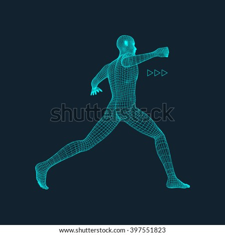 Fighting Man. 3D Model of Man. Polygonal Design. Business, Science and Technology Vector Illustration. 3d Polygonal Covering Skin. Human Polygon Body. Human Body Wire Model. - stock vector