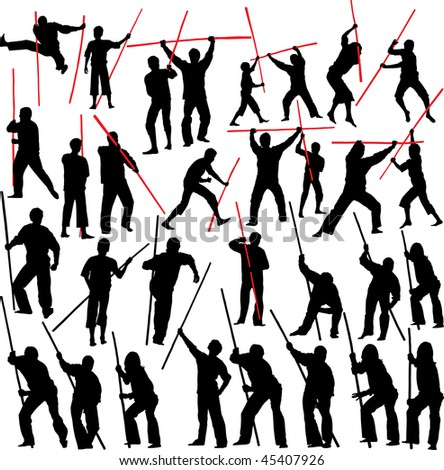 Fighting with sticks. Set of vector silhouettes. - stock vector
