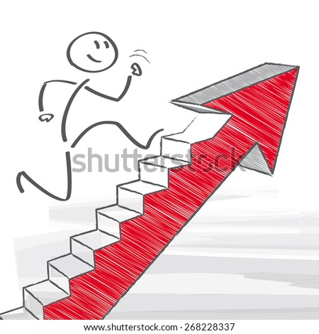 figure climbs corporate ladder - stock vector