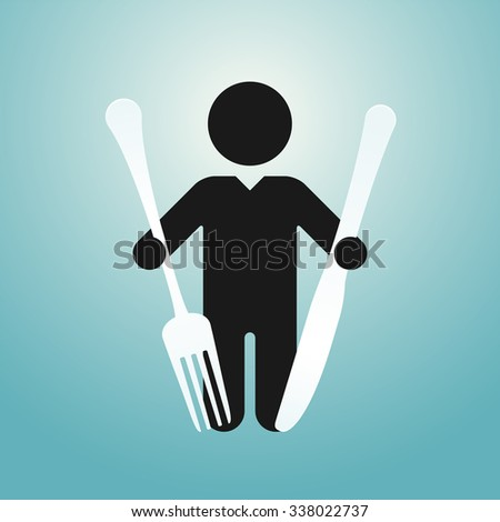 figure man holds knife and fork - stock vector