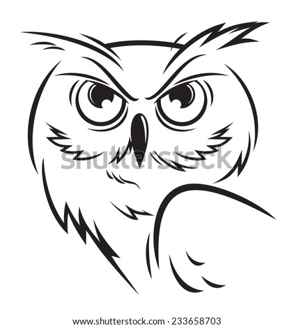 figure owl sketches - stock vector