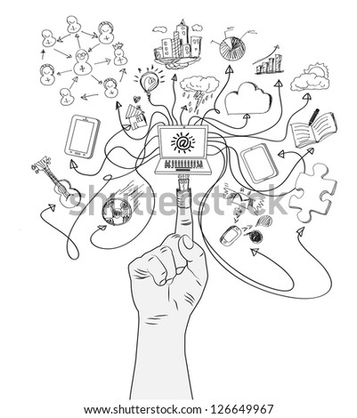 Figure USB plug connects a computer with social media icons - stock vector
