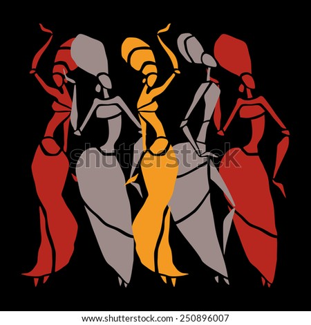 Figures of african dancers. Dancing woman in ethnic style. Vector  Illustration. - stock vector