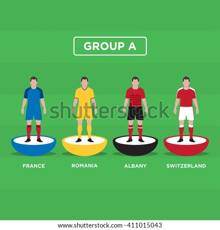 Figurine Football (Soccer), group A. Editable vector design.  - stock vector