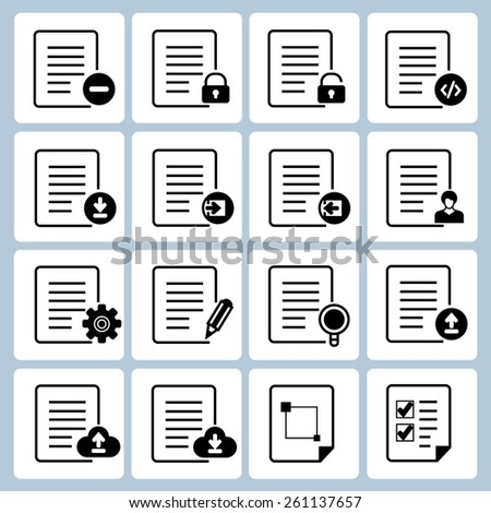 file and document icons set, vector icons - stock vector