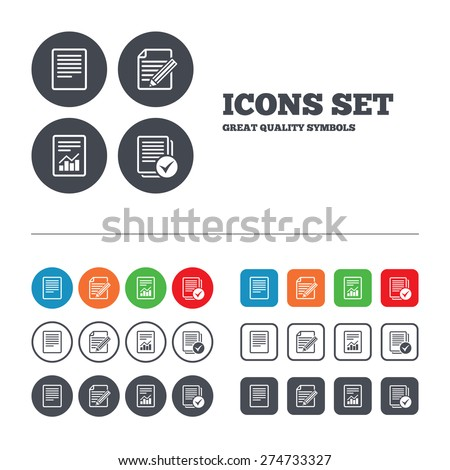 File document icons. Document with chart or graph symbol. Edit content with pencil sign. Select file with checkbox. Web buttons set. Circles and squares templates. Vector - stock vector