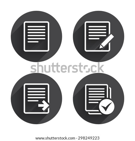 File document icons. Download file symbol. Edit content with pencil sign. Select file with checkbox. Circles buttons with long flat shadow. Vector - stock vector