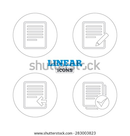 File document icons. Upload file symbol. Edit content with pencil sign. Select file with checkbox. Linear outline web icons. Vector - stock vector