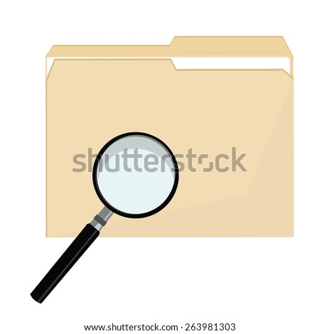 File folder vector icon and magnifying glass icon symbol vector, file search,  - stock vector