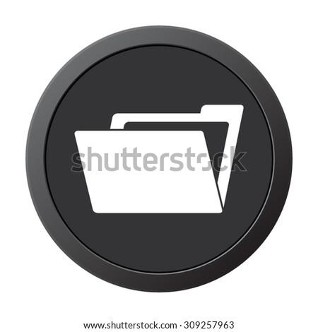 File Folder  - vector icon on a grey button - stock vector