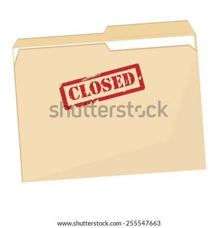 File folder with red rubber stamp closed vector icon isolated on white - stock vector