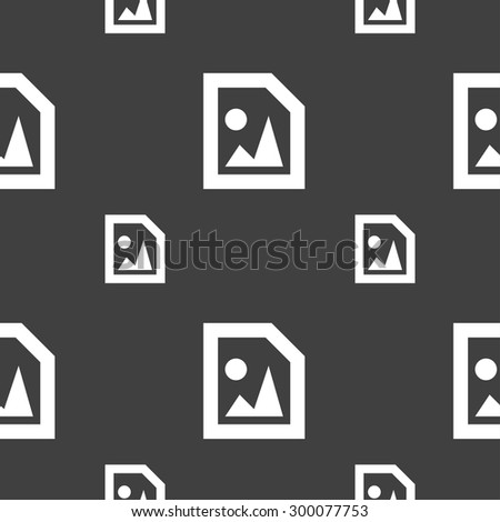 File JPG icon sign. Seamless pattern on a gray background. Vector illustration - stock vector