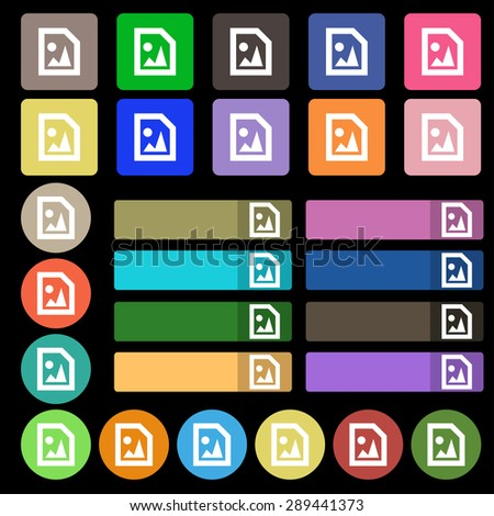 File JPG  icon sign. Set from twenty seven multicolored flat buttons. Vector illustration - stock vector