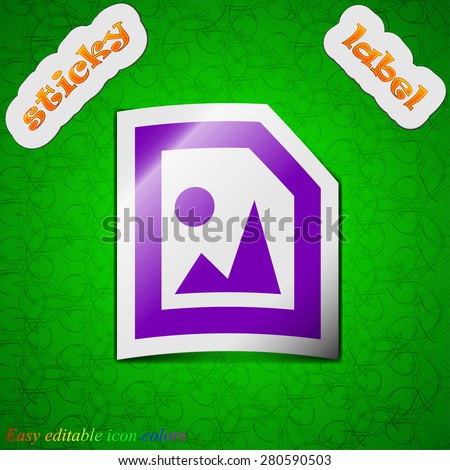 File JPG  icon sign. Symbol chic colored sticky label on green background. Vector illustration - stock vector