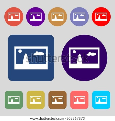 File JPG sign icon. Download image file symbol.12 colored buttons. Flat design. Vector illustration - stock vector
