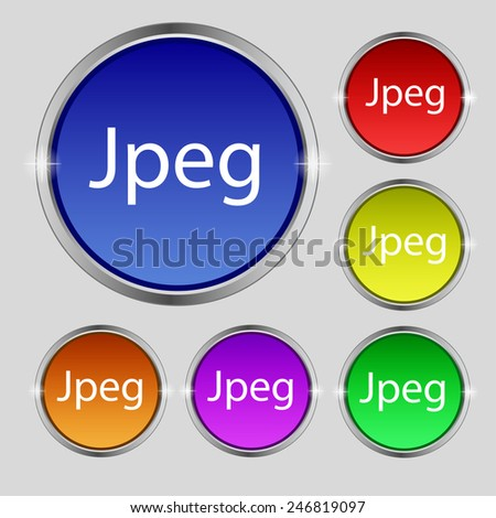 File JPG sign icon. Download image file symbol. Set of colored buttons. Vector illustration - stock vector