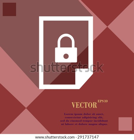 file locked icon symbol on red abstract geometric background with long shadows. Vector illustration - stock vector