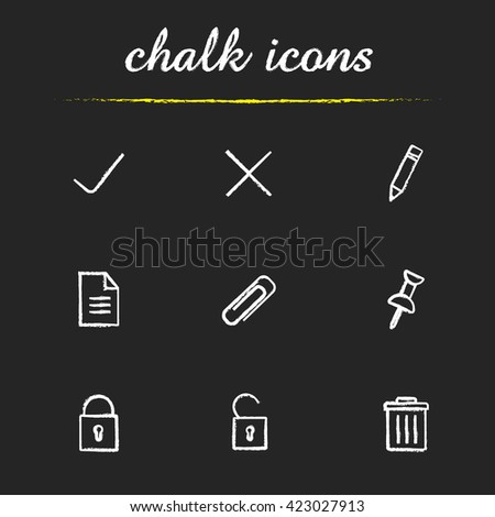 File manager icons set. Edit, save, delete, document, lock, unlock, attach pin and trash bin symbols. Isolated vector chalkboard drawings - stock vector
