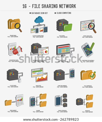 File share and networking icons,clean vector - stock vector