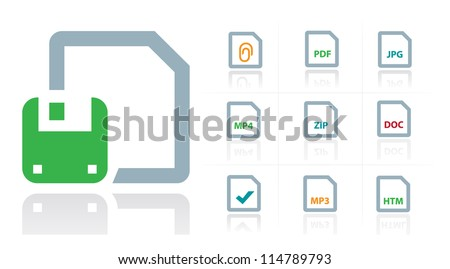 File Type Icons - stock vector