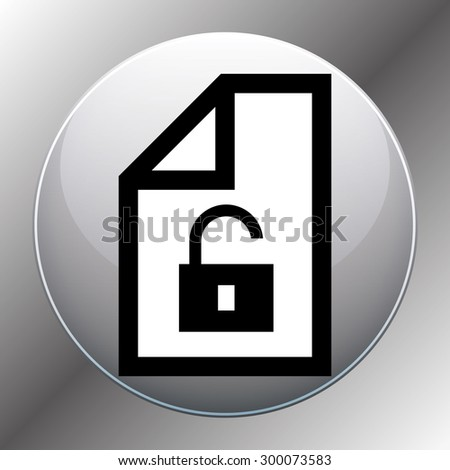 File unlocked icon symbol on a wooden background. Vector illustration - stock vector