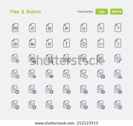 Files & Buttons. Granite Icon Series. Simple glyph style icons designed on a 32x32 pixel grid. - stock vector