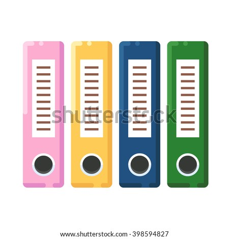 Files icon. Binders icon. Office folders icon. Vector flat illustration isolated on white background. - stock vector