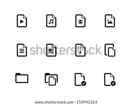 Files icons on white background. Vector illustration. - stock vector