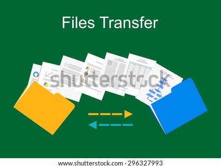 Files transfer illustration. Documents management illustration.  - stock vector